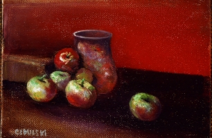 "<h5>Apples on Red II</h5><p>11"" x 14""</p>"