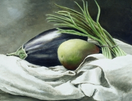 "<h5>Still Life with Eggplant</h5><p>30"" x 24""</p>"